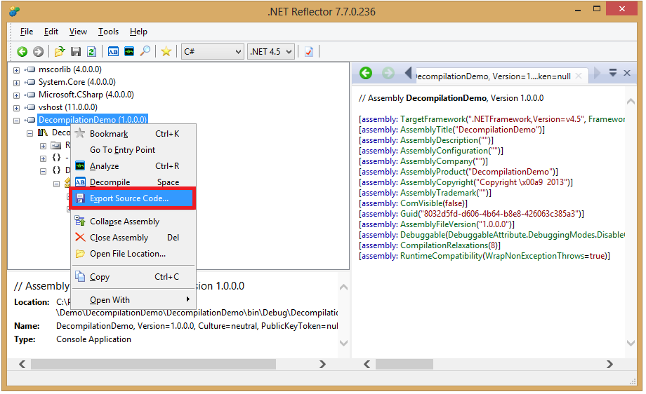 .NET Reflector Export Code