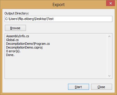 .NET Reflector Export Code Window